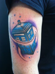 This is my TARDIS tattoo, this was taken right after it was finished, a week ago. The artist didnt know what a TARDIS was, so he researched it and actually took the time to get the right TARDIS blue. I am very happy with this. Done at Osborne Village Ink by Sean Farrell, in Winnipeg, Canada.