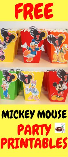 Free Mickey Mouse popcorn box favor printables