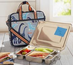 Mackenzie Gray Dino All-in-One Lunch Bag | Pottery Barn Kids