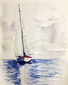 Aquarell Boot auf See - Evelyne P. - Wholepics Aquarell Boot auf See - Evelyne P. Easy Watercolor, Watercolor Landscape, Watercolour Painting, Painting & Drawing, Landscape Paintings, Watercolors, Pictures To Paint, Art Pictures, Sailboat Painting