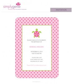 Chic, trendy, preppy. Sea Turtle Birthday Party Invitations from www.simplygenie.com