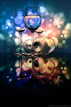 Wine glasses and lights -Through the glass by António Oliveira on 500px