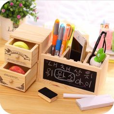 Desk Accessories & Organizer Creative Wooden Elephant Pencil Holder Cute Kawaii Whale Pen Stands Mobile Phone Holder Desk Organizer Office School Supplies Vivid And Great In Style Pen Holders