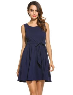 Women Sleeveless Solid Fit and Flare Cocktail Party Pleated Dress With Belt