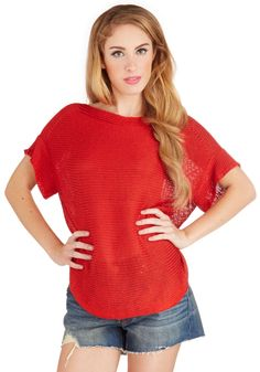 Wanna Be Outside Sweater. When backyard barbecues last into the night, slip into this red sweater to fight off the evening chill! #red #modcloth