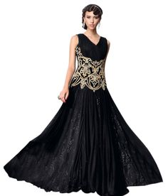 Buy New Net Embrodary Work Black Semi Stitched Anarkali type Gown Online India - 3583047