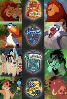 Lion King and Hogwarts Houses