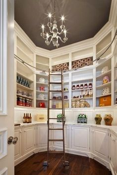 Almost too pretty to be a pantry!!! The Stone Mansion: Incredible walk-in pantry with dark gray painted octagonal recessed ceiling and glass ...