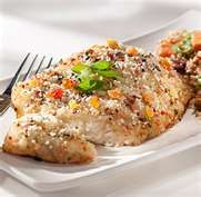 quinoa crusted fish - marinated the Mahi fillets in a Mango chipotle grilling sauce overnight; then cooked 2 cups of quinoa; beat an egg and dipped the fillet of Mahi in the egg and then rolled it in the quinoa to coat; placed the fish on a prepared pan coated with spray oil. Baked the fish for about 25 minutes on 350 degrees.