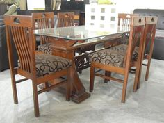 Six Seater Dining Table In Our Stock Made Solid Wood Glass Top Good Condition