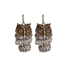 Lucky Brand Shaky Owl Earrings ($20) found on Polyvore
