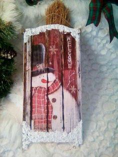 Homemade Christmas Tree, Christmas Sled, Christmas Wood Crafts, Christmas Signs Wood, Snowman Crafts, Primitive Christmas, Outdoor Christmas Decorations, Christmas Tree Ornaments, Holiday Crafts