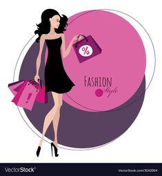 Fashion girl Woman with shopping bags vector image on VectorStock Boutique Names, Boutique Logo, Logo Online Shop, Shop Logo, Shopping Clipart, Fairy Clothes, Fashion Logo Design, Girls Shopping, Shopping Bags