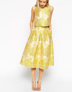 ASOS Golden Jacquard Skirt co-ord
