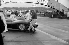 1955 Jaguar D-Type XKD 504 The Autosport 3 Hours; Snetterton, September 30, 1961. At the Le Mans start for this British International stats race, Mike Salmon dashes to his now somewhat outdated Jaguar D-Type. Age was no factor this time and Salmon won. (Photo courtesy of the Klemantaski Collection)