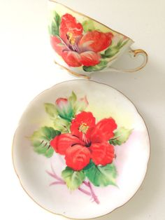 Vintage Handpainted Porcelain Red Hibiscus by MariasFarmhouse, $49.00