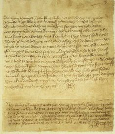 "Letter from Henry VIII to Anne Boleyn, ending with the still-mysterious message:  ""B.N.R.I. de R.O.M.V.E.Z"""