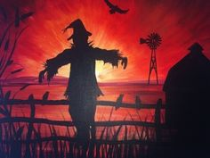 SCAREcrow – During the day, this is a quaint little farm nestled among the count… - PAINTING Halloween Canvas Paintings, Fall Canvas Painting, Halloween Painting, Autumn Painting, Autumn Art, Halloween Art, Canvas Art, Halloween Wreaths, Canvas Ideas