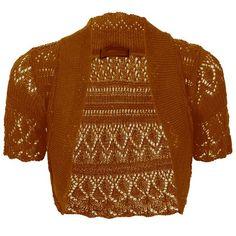 Thever Women Short Sleeve Knitted Crochet Shrug Bolero Cardigan Ladies Crop Top (M(10-12), Rust)