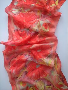 Red Poppies Hand Painted Silk Scarf for Ladies. door SilkLetters, $46,00