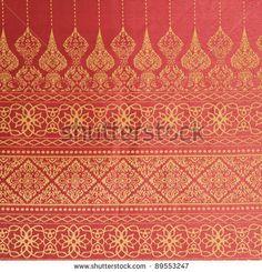 thai fabric with motif | Thai fabrics patterns - stock photo