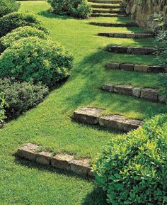 curving grass steps with fieldstone risers flanked by rounded forms...serenity in the garden.