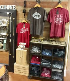 Cool tshirt display.