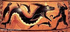 Ketos (sea-monster) | Heracles fighting the Sea-Monster of Troy | Greek vase, Caeretan black figure hydra