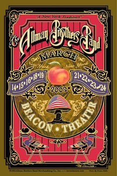 2002 Allman Brothers Band - Beacon Theater - New York City NY Rock Posters, Band Posters, Vintage Concert Posters, Vintage Posters, Music Flyer, Westerns, Poster Art, Allman Brothers, Art Music