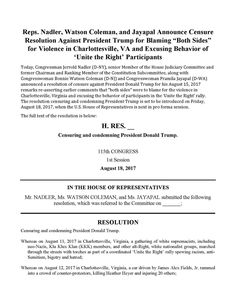 House Resolution introduced for the Censure of Donald Trump (p 1 of 2).