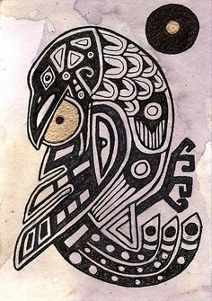 "Love this almost Celtic looking Inspirational Raven from the Haida Myth ""raven steals the sun"" by Lynnette Shelley Crow Art, Raven Art, Bird Art, Native Art, Native American Art, Haida Art, Inuit Art, Celtic Art, Celtic Raven"