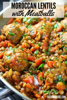 Moroccan Lentils with Turkey Meatballs - a delicious and hearty meal layered with the most delightful combination of Moroccan flavors! With green lentils tomatoes parsley warm Moroccan spices like cumin turmeric paprika cayenne cloves and homemad Turkey Recipes, Meat Recipes, Meatball Recipes, Chicken Recipes, Cooking Recipes, Healthy Recipes, Easy Lentil Recipes, Lentil Meals, Dinner Recipes