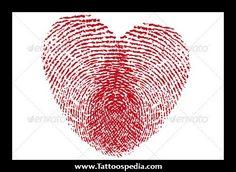 Fingerprint Heart Tattoos 1