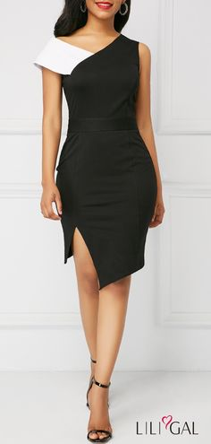 Black V Neck Side Slit Sheath Dress #liligal #dresses #womenswear #womensfashion
