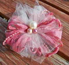 Handmade Vintage Looking Tulle and Ribbon Flowers
