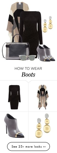 """""""Ankle boots and a poncho"""" by depolo-marina on Polyvore featuring Madeleine Thompson, Karen Millen, Yves Saint Laurent, Ray-Ban and Marco Bicego"""