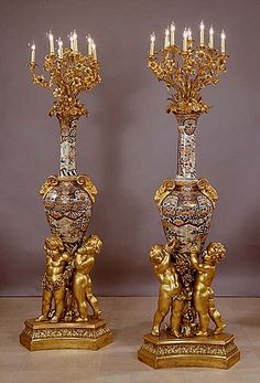 Pair of Napoleon III Gilt-Bronze Mounted Imari Porcelain Eleven-Light Candelabra on Giltwood Bases - French   c.1850