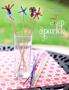 Drink sparklers made with wooden skewers and metallic pipe cleaners. So cute!