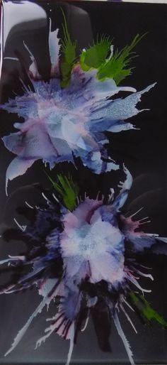 Deb Boudreau.  Ink on black ceramic tile.  Sealed