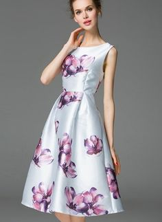 Polyester Floral Sleeveless Knee-Length Vintage Dresses (1955104418)