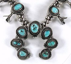 Vintage sterling silver and turquoise squash blossom naja necklace 26 inch