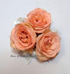 Dark peach/coral spray rose corsage.