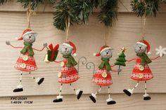 4 Котята в духе Рождества  H: 9,5 см Рождественские Кошки - Xmas украшения