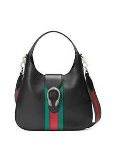 L0Q3Y Gucci Dionysus Medium Web-Stripe Hobo Bag, Black