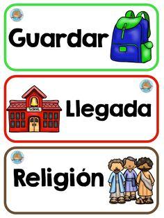 carteles-rutimas-y-horarios-8 Daily Schedule Preschool, Kindergarten Schedule, Classroom Schedule, Classroom Labels, Preschool At Home, Classroom Organization, Dual Language Classroom, Bilingual Classroom, Kids Learning Activities