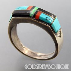 NATIVE AMERICAN VINTAGE NAVAJO STERLING SILVER MULTI GEMSTONE MOSAIC INLAY BOLT DESIGN BAND RING SIZE 9.5
