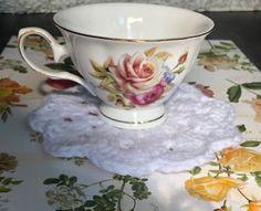 Crochet Lace Coasters Doilies Vintage Elegant Flowers | Etsy Crochet Doilies, Crochet Lace, Custom Coasters, Anything Is Possible, Elegant Flowers, Dinner Table, Tea Party, Tea Cups, Delicate
