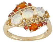 .93ctw Ethiopian Opal, Mexican Fire Opal, Orange-red Sapphire And Champagne Diamond 10k Gold Ring