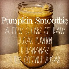 Pumpkin Smoothie for your 80/10/10 lifestyle. (I'd probably swap the sugar for medjool dates, but yum!)