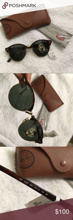 NEW Ray-Ban Clubround Style 4246 unisex. Brand new with tag and authentic. Comes with accessories (cleansing cloth and case). G-15 lenses with 100% UV protection. Feel free to make an offer. Thanks :) Ray-Ban Accessories Sunglasses